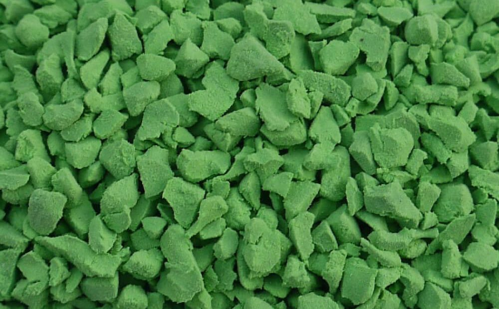 Light green rubber crumb