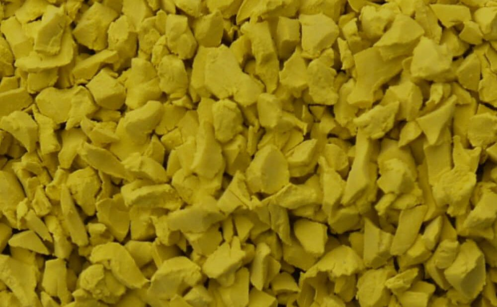 Yellow rubber crumb