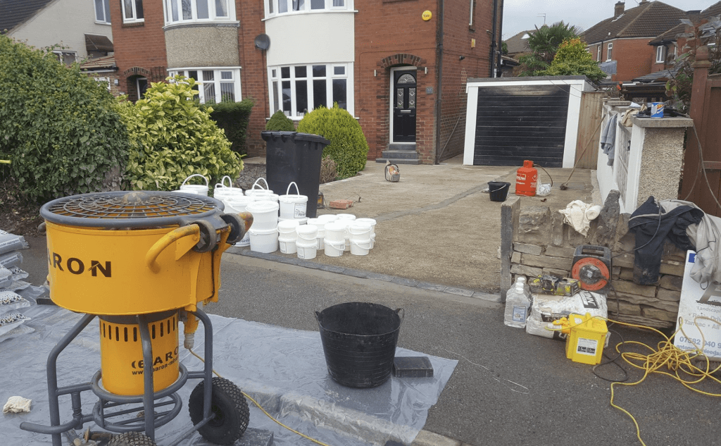 resin drive installation with baron mixer