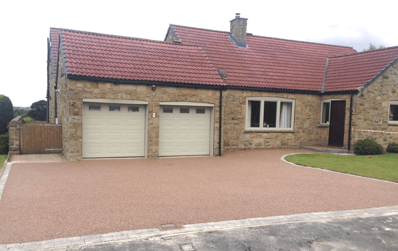 rose colour resin driveway